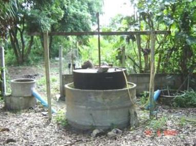 ระบบฝาครอบแช่ในบ่อมูล (Floating drum digester)